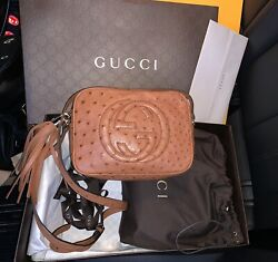 GUCCI Soho Brown Sunflower Ostrich Disco Bag * Authentic! Rare Find! NWOT *