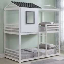 Youth And Kids Modern House Themed Heavy Duty Metal Bunk Bed Twin Over Twin, White
