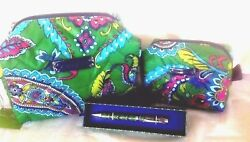Vera Bradley PUFFY COSMETIC CASES- LARGE & SMALL + RETIRED MAKEUP BAGS + PEN