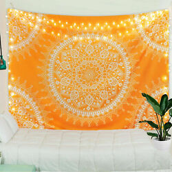 Yellow Mandala Tapestry Indian Tapestries Wall Hanging Bedspread Home Decor USA