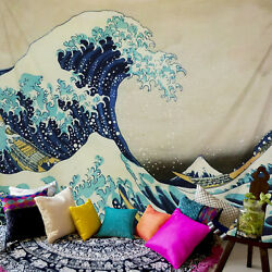 Sea Wave Print Tapestry Wall Hanging Bedspread Room Decor Art Tapestry Us Ship
