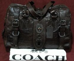 😲COACH Lily Ostrich Leather Mahogany XL # 11160 Retail $7000.00😲