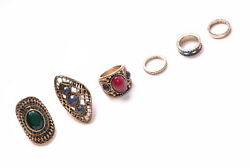 Gorgeous Gypsy Look Five Large Chic Rings W Beads In Different Colours T294