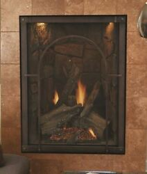 Forest Hills Dv Fireplace Black Ref. Liner And Cathedral Front Ng