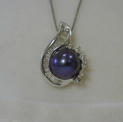 Alwand Vahan 14k White Gold Black Pearl And .80ct Diamond Halo Pendant Necklace