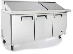 Atosa Msf8308gr 72 3 Door Mega-top Sandwich/salad Prep Table W/casters And Pans