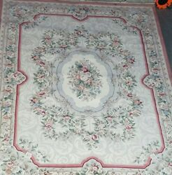 9' X 13' Genuine Chinese Aubusson Hand Woven 100 Wool Pile Rug Masterpiece