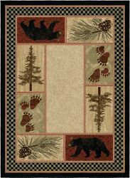 Cades Cove Round Oval Runner Area Rug Mat Lodge Cabin Bear Paw Pine Cone Beige