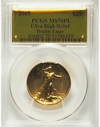 2009 $20 One-Ounce Gold Ultra High Relief Twenty Dollar Coin MS70PL Prooflike