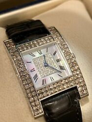 CHOPARD H Mother of Pearl Diamond Dial 18k White Gold Dress Watch