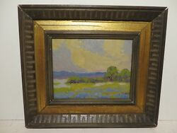 7x9 Org. Early 1930s Oil Painting On Board By Carl Hoppe Of Texas Bluebonnets