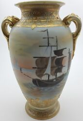 Nippon Antique Noritake Filigree Gold Gilded And Hand Painted Vase C1911