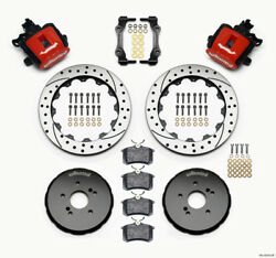 Wilwood Combination Parking Brake Rear Kit 12.88in Drilled Red For Honda S2000 -