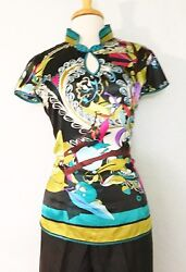Modified Chinese Women Silky Shirt Top Blouse in Design of Colorful Floral Print