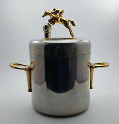 Novelty Ice Bucket W/ A Brass Horseback Riding Over A Hurdle Statue