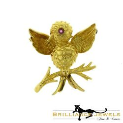Estate Authentic And Co. Vintage Bird Brooch / Pin In 18k Yellow Gold