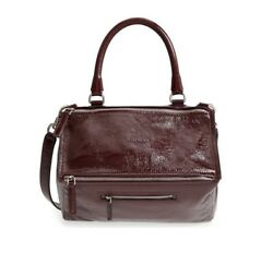 Givenchy Women's Pandora Creased Patent Leather Shoulder Bag Red MSRP $2290