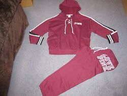 Nip Victoria's Secret Pink Outfit Laceup Hoodie Classic Pants Large Deep Ruby