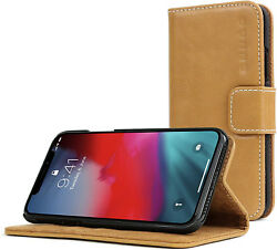 iPhone Xs Max Case Desert Camel Leather Flip Wallet Cover Card Slots And Stand