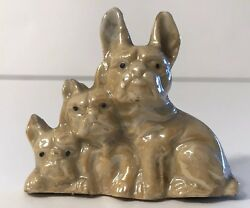 Vintage French Bulldogs Dogs Puppies Trio Ceramic Japan Figurine