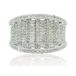 1.18 Ct Round Baguette Natural White Diamond Cluster Band Ring Sterling Silver $143.91