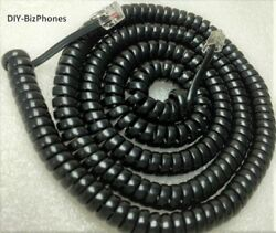 Black LONG 25 Ft Handset Cord Cortelco Phone 250000 255400 Colleague Curly Coil
