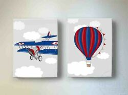 Boys Girls Canvas Nursery Wall Decor Unique Hot Air Balloon And Airplane Art Gifts
