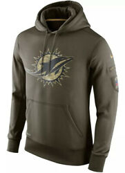 Authentic Nike Miami Dolphins Men's 2015 Nfl Salute To Service Hoodie Olive 3xl