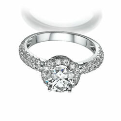 WOMEN DIAMOND RING HALO 18K WHITE GOLD PROMISE MICRO PAVE 2.58 CT 4 PRONG NEW