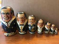 Us Presidents And Russian Rare Collection 16 Pcs Authentic Nesting Dolls
