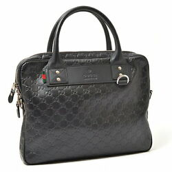 GUCCI Shima 2WAY bag briefcase coating leather 328937