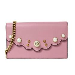 GUCCI Pearl Studded chain wallet 431478 Purse