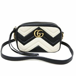 GUCCI GG Marmont quilting calf by mini bag shoulder antique fittings 448065