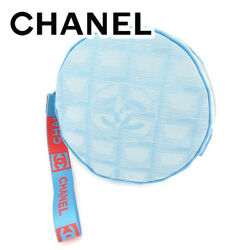 CHANEL pouch makeup bag New Travel line canvas leather T7264s.