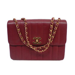 CHANEL Mademoiselle double chain shoulder bag Bordeaux caviar skin fitting