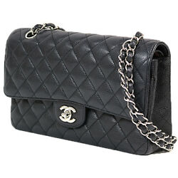 CHANEL Matorasse 25 bracket 2Way shoulder bag handbag caviar skin AB used i