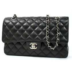 S CHANEL Matorasse W flap chain shoulder bag A01112 bracket caviar skin 201