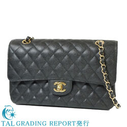 S CHANEL Matorasse 25W flap chain shoulder bag A01112 caviar skin certifica