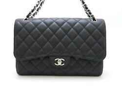 CHANEL bag Matorasse W flap chain shoulder caviar skin bracket 473 large (N2029