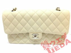 CHANEL chain bag caviar skin bracket light beige here mark (N1832