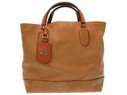 Gucci Ostrich handbag bag 257049 Brown 0145GUCCI (N1486