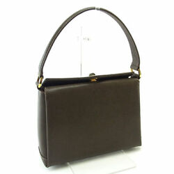 GUCCI handbag shoulder bag vintage Square form brown leather Y1947s. (N1765