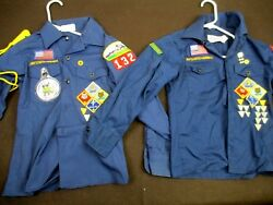2 Vintage Bsa Boy Scout Blue Long Sleeve Shirt, Caps, Scarves - Sizes 10 And12