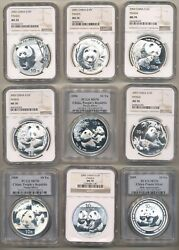 2001 - 2021 China 10y Silver Panda 22 Coins Perfect Complete Year Set Ms 70