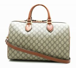 GUCCI GG Supreme 2WAY Boston diagonal seat PVC khaki beige br(17070 (N2410