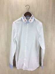 GUCCI long sleeve shirt 40 cotton WHT stripe (K10767