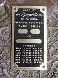 Locomobile Patent And Data Plate Acid Etched Brass 1900 - 1912 +