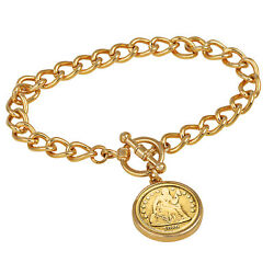New 24kt Gold Plated Silver Seated Liberty Dime Goldtone Coin Toggle Bracelet