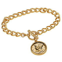 New 24kt Gold Plated Silver Mercury Dime Goldtone Coin Toggle Bracelet 15258
