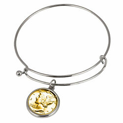 New Gold-layered Silver Mercury Dime Silver Tone Coin Bangle Bracelet 14832